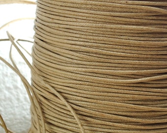 6yds Cord Waxed Cotton Tan Brown 1.5mm String Lace Jewelry twine Cord Macrame String for Bracelet and Necklace