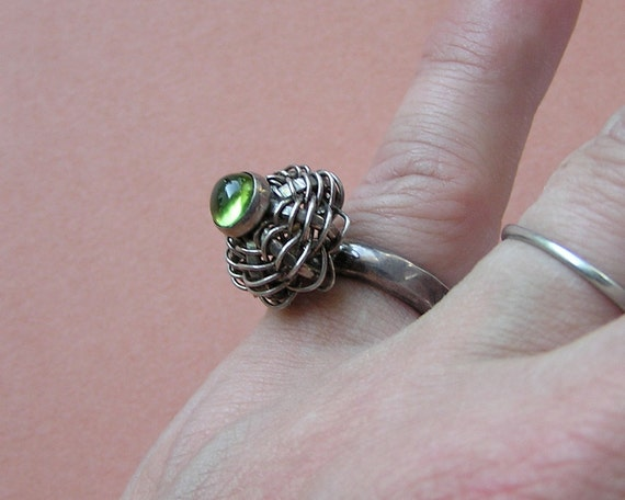 Vintage Sterling and Peridot Green Cabochon Tall Profile Ring Size 6 to 7