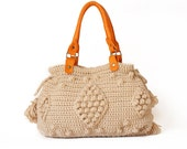 BAG // new season bag  Beige Handbag Celebrity Style With Genuine Leather Straps / Handles shoulder bag-crocheted bag-hand made