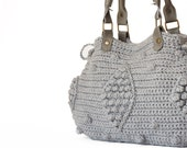 Light Grey Handbag Celebrity Style With Genuine Leather Handles