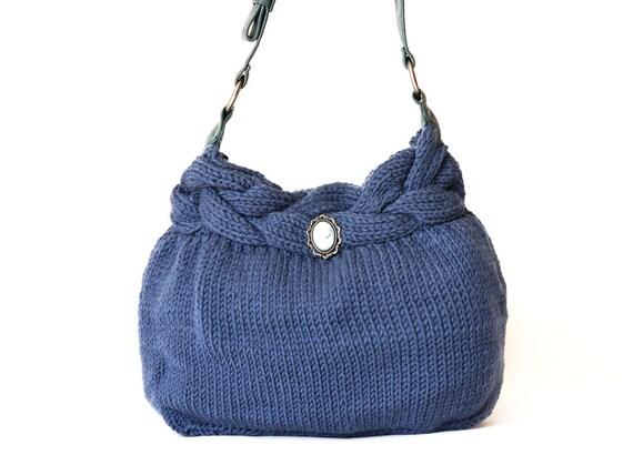 Blue handbag  Celebrity Style With Leather Strap-shoulder bag-knit bag-hand made