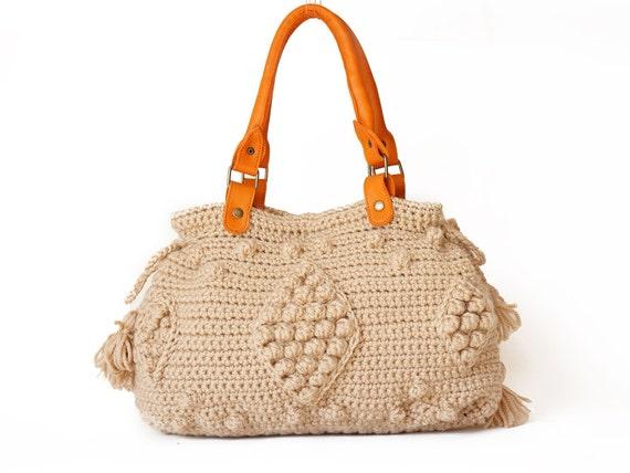 BAG // new season bag  Beige Handbag Celebrity Style With Genuine Leather Straps / Handles shoulder bag-crocheted bag-hand made