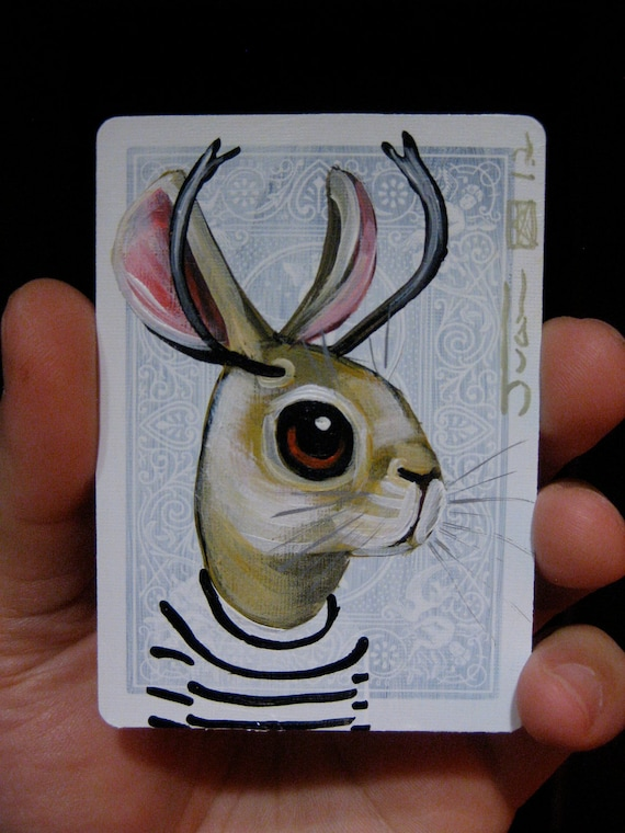 Jackalope  portrait N17 on a playing cards. Original acrylic painting. 2012
