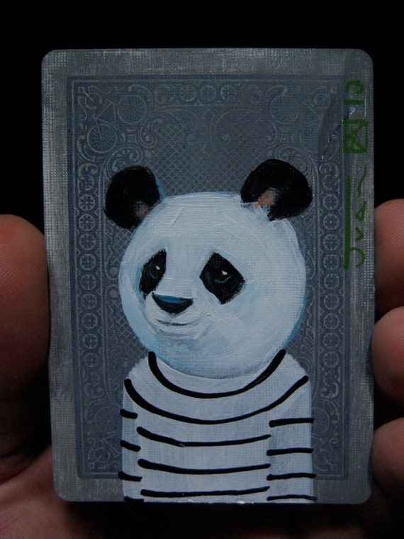 Panda portrait N14 on a playing cards. Original acrylic painting. 2012