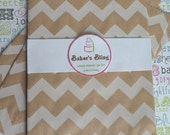 50 Kraft Brown Chevron Party Bags, Kraft Brown Candy Bags, Kraft Brown Chevron Popcorn Bags, Favor Bags, Gift Bags