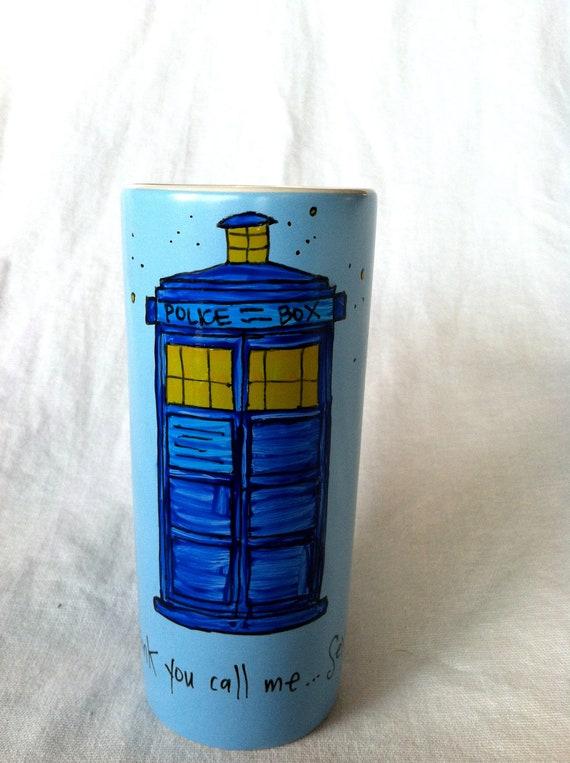 "Doctor Who ""I think you call me... Sexy."" TARDIS quote mug- Tall, skinny, powder blue mug with Idris Quote"