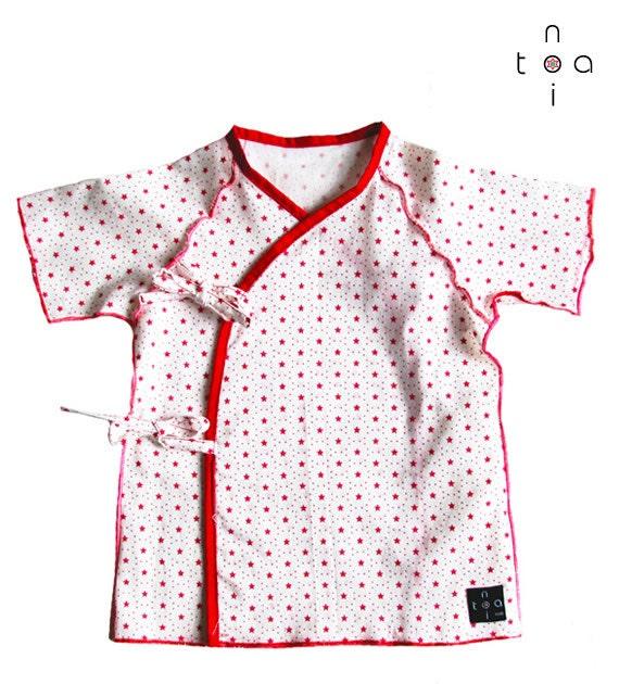 """Kimono dress/ underware  """"Red stars"""""""
