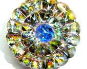 22mm Multi Color Czech Glass Button-Iridescent Glass-Faceted