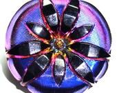 XL 36mm Purple, Pink , and Black Czech Glass Button-Iridescent Glass-Gold Accents-Flower