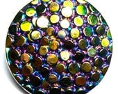 "27mm or 1"" Vintage Black Czech Glass Button-Iridescent Luster/Carnival Luster"