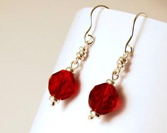 Red Crystal Earrings, Sterling Silver Dropper Earrings
