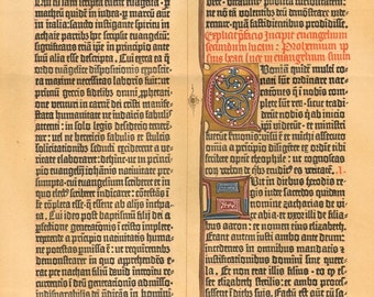 1890 Facsimile of the 42 Row Gutenberg Bible from 1455 Original Antique Chromolithograph