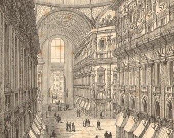 1888 Eclecticism, Neo-Renaissance, Law Courts of Brussels and Galleria Vittorio Emanuele II Original Antique Engraving to Frame