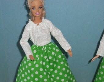 Skirt & Blouse Set, White Dots on Green Skirt, White Peasant Blouse for 11 1/2 inch dolls. Ready to Ship