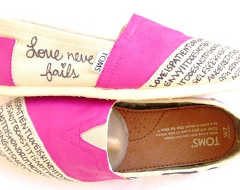 The Ellie - TOMS Shoes Fuscia and Cream Custom TOMS
