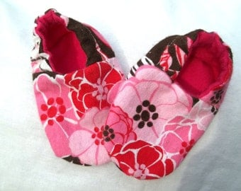 Newborn Baby Shoes Booties  Girl - Zebra and Pink Flowers