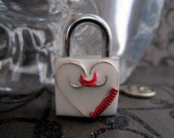 Choker Lock, Embellished  Padlock, Lock and Key, Mini  Lock, BDSM Lock