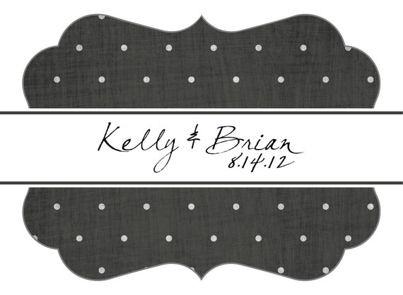 Custom Wedding Stickers Die Cut Dots and Texture Guest