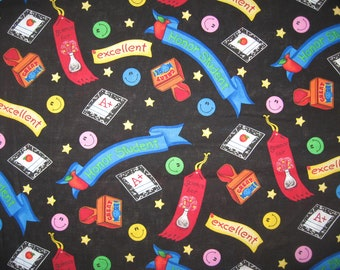 Fabric Traditions Honor Student School theme fabric on black 1 yard 13""