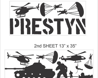 X-Large Personalized Name and Military Army Soldiers Vinyl Wall Decals Art Stickers for Kids (No. 025)