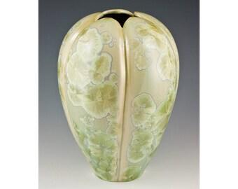 Sage Green Hand Carved Crystalline Vase