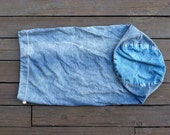 Distressed denim drawstring laundry bag