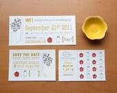 Rustic Wedding Invitation Suite With Kitsch Apple Tree & Mason Jar