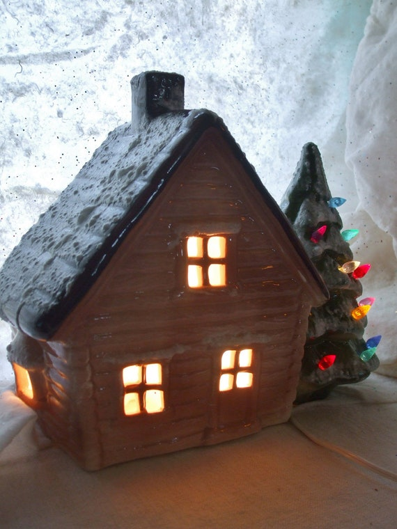Christmas House Ceramic Lighted House Christmas Tree Vintage