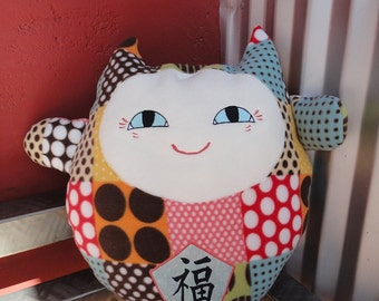 Maneki Neko Cat  Good Luck Cat Pillow Japanese Lucky