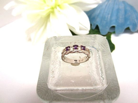 Ring Sterling Silver Three Faceted Amethyst Gemstones