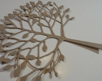 Delicate Kraft Die Cut Trees with leaves for paper crafts