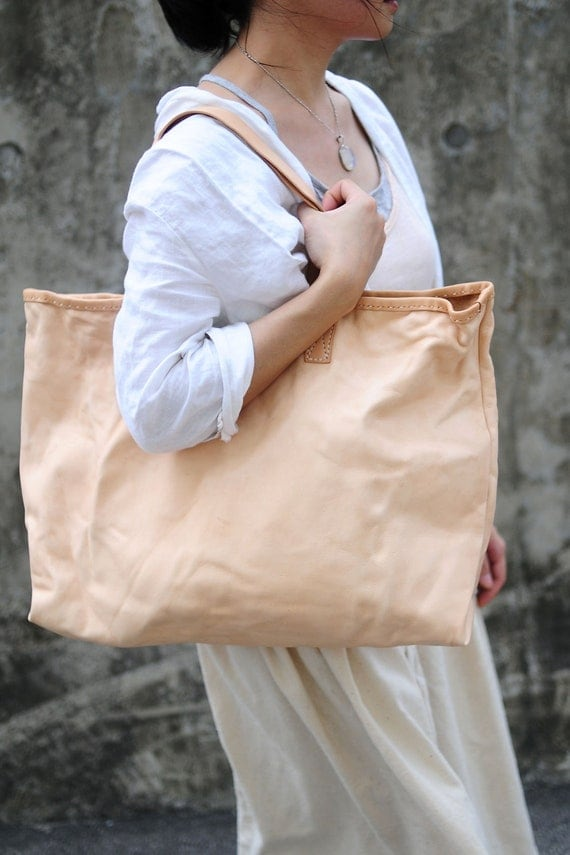 Hand Stitched Washed-Out Leather Tote Bag/ Hand Bag (Extra Large Size)