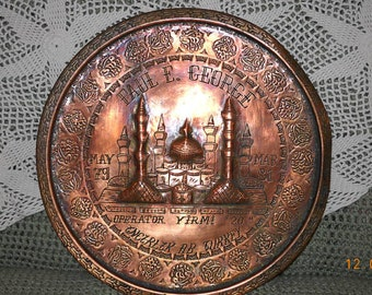 Old Incirlik AB Turkey Copper Engraved Military Tray
