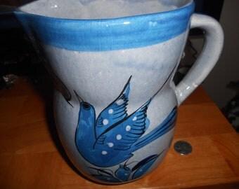 Vintage large ceramic pitcher blue with bird