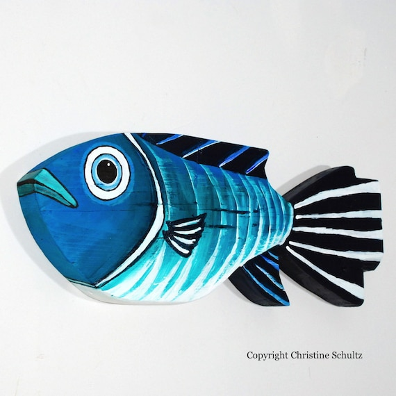 Painted Wood Fish Decor Green and Blue Folk Art