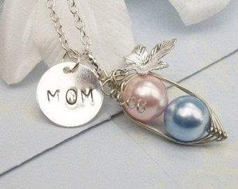 Mom Peas in a Pod Hand Stamped Silver Necklace Pendant - Choose Your Initials or Pearl Colors. Great Gift.