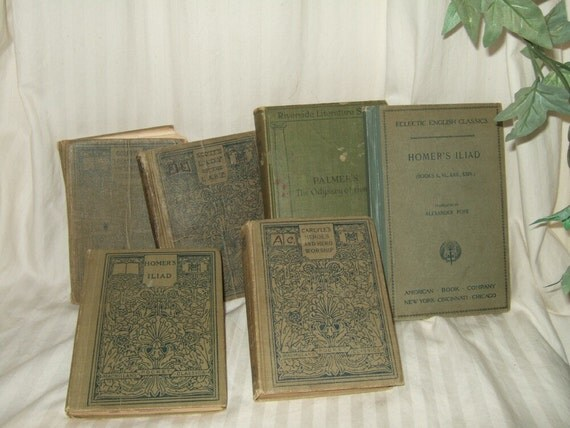 vintage books  library collection Homer, Illiad, Odyssey, 1900s publications, green  linen covers.