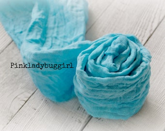 1 aqua hand dyed cheesecloth wrap newborn photo prop must have