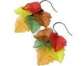 Fall Foliage Cascading Autumn Leaf Antique Brass Earrings Red Brown Yellow Green Orange Leaves Back To School Seasonal Jewelry Teacher Gift