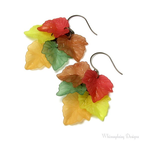 Fall Foliage Cascading Autumn Leaf Antique Brass Earrings Red Brown Yellow Green Orange Leaves Back To School Seasonal Jewelry Teacher Gift