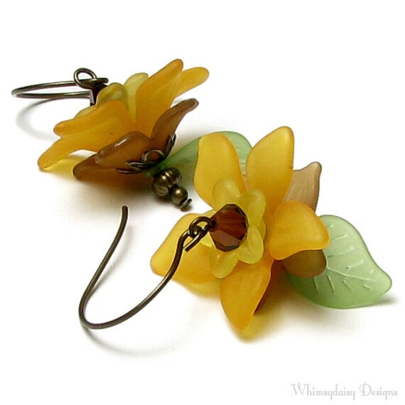 Sunflower Earrings, Flower Garden Autumn Floral Antique Brass Earrings, Spiced Pumpkin, Topaz, Golden Yellow, Brown Earrings, Fall Jewelry