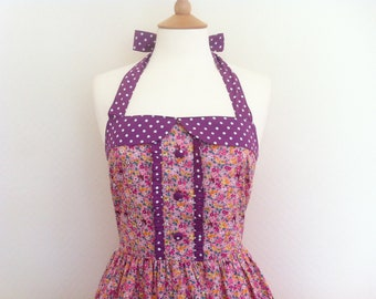Retro Dress, Size LARGE, vintage petite floral on a pink fabric, fully lined