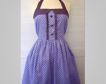 Retro Dress, SIZE SMALL, white polka dots on a purple fabric, fully lined