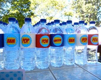 Superhero Water Bottle Labels - INSTANT DOWNLOAD | Superhero Water Bottle Wrappers | Superhero Drink | Super Hero | digital printable