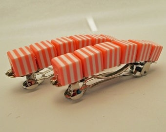 Retro Stripe Barrettes - Apricot - Set of 2 - acrylic retro cube barrettes for girls, teens, and women by reynared