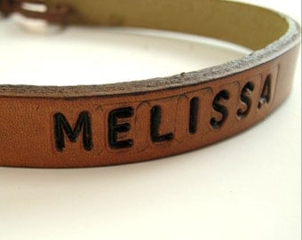 Personalized Leather Choker Leather Necklace Bespoke Black Brown Red Green