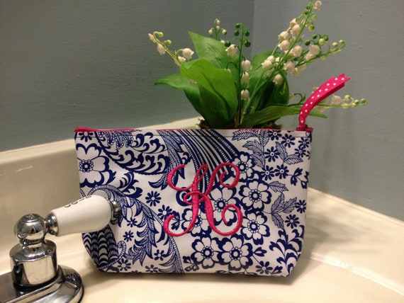 Small Blue Floral Toile Oilcloth Cosmetic Bag with Pink Monogram and Pink Polka Dot Oilcloth Lining