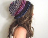 Knit Slouchy Hat Striped Pink Blue