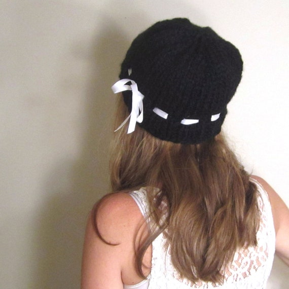 Black Slouchy Hat Beret Knit White Ribbon