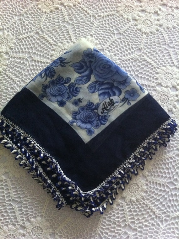Blue and White Crocheted Oya Lace Scarf